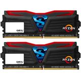 16GB GeIL Ryzen Super Luce rote LED schwarz DDR4-2400 DIMM Dual Kit
