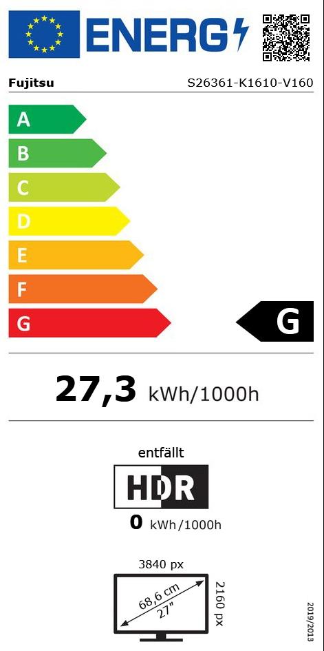 "27"" (68,58cm) Fujitsu P-Line P27-8 TS UHD schwarz 3840x2160"